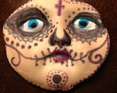 Sugar skull clay face round  jewelry craft supplies  handmade cabochon oval face light weight polymer