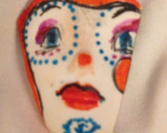 1 clay face jewelry craft supplies  handmade cabochon  monster polymer clay  findings    girl red stripes wink