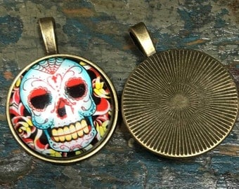 Sugar Skull pendant zombie  skeleton    Bronze dish with glass dome loop at top (AAA6)