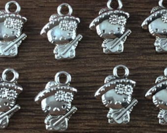 cat  kitty charm   silver quantity 8   jewelry findings kwaii supplies pendant G12