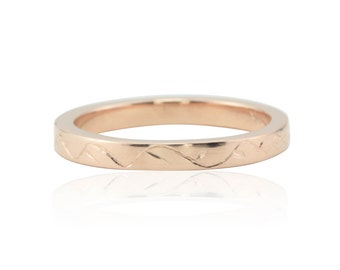 Rose Gold Ring with Hand Engraved Vine Motif - 2.5mm Square Edge Wedding Band - LS4726