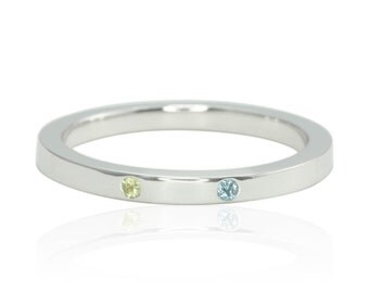 Birthstone Stacking Ring - Bezel set Peridot and Blue Topaz Mother's Ring - August and December Birthstone Gift - LS4590