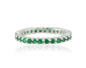 Emerald Ring - Eternity Wedding Band with Prong set Emeralds in 14k White Gold - May Birthstone Ring - LS1178