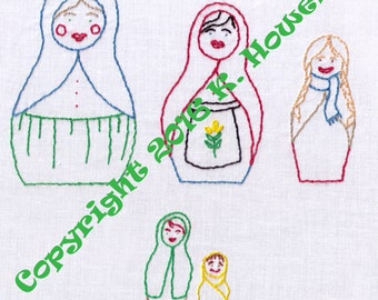 Hand Embroidery Pattern-Russian Nesting Dolls