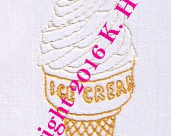 Ice Cream Hand Embroidery Pattern, Soft Serve, Ice Cream Cone, Dessert, Cone, Frozen, Sweet, Treat, Frozen Yogurt, PDF