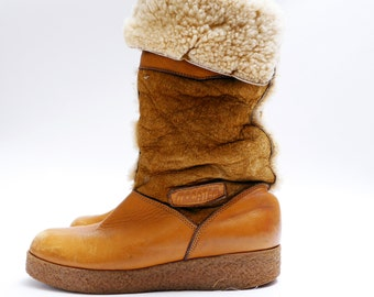 Vintage Sherpa Boots // Winter Fur Boots// Brown Leather Suede Boots// Sheepskin // Womens 10