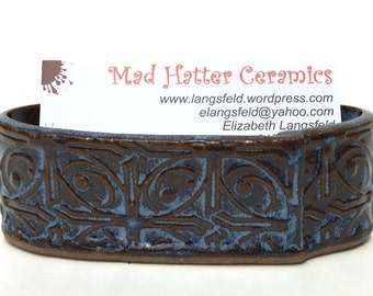 Dark Blue Textured Tin Roof Handmade Ceramic Pottery Business Card Holder