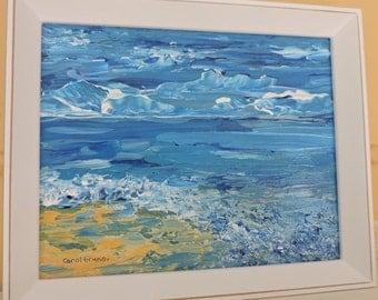Beach Scene Painting-Seascape-Original Acrylic Painting on a Canvas Panel-Framed