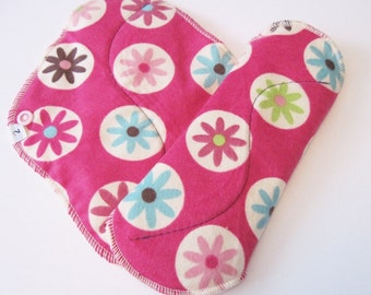 Set of 2 Dark Pink with Flowers Printed Flannel Reusable Cloth Mama Pads . 8 Inch FREE Shipping