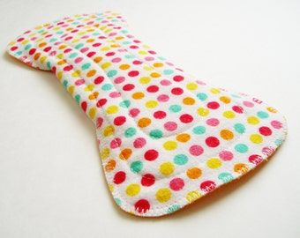 "9.5"" Flared Regular Cotton Cloth Menstrual Pad - Dots White Turquoise Pink Yellow Orange, Incontinence Pad, Moderate Day Pad - Contoured Pad"