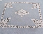 """SALE- Net lace Antique French Net lace and Battenberg Coverlet 80"""" by 90"""""""