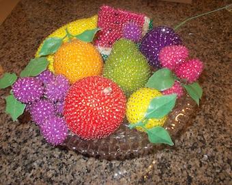 SaLe Vintage Beaded Fruit Water Melon apple banana pear orange berries plum lemon
