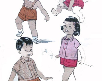 1950s Toddlers Playsuit or Top and Shorts Advance 8998 Vintage Sewing Pattern Size 2 UNCUT No Envelope