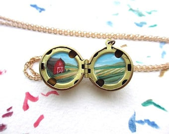 Original Art Oil-Painted Locket, Tiny Farm Fields and Red Barn, Country Landscape
