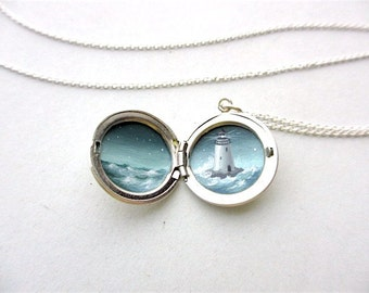 Miniature Lighthouse Oil Painting, Sterling Silver Locket Necklace, Hand-Painted