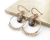 Rose Gold Hoops with Smokey Quartz, Gemstone Hoop Earrings, Gold Filled Wire Dangle Hoops