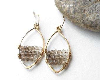 Beaded Smokey Quartz Earrings, Gold Filled Gemstone Wire Wrapped Dangle Earrings