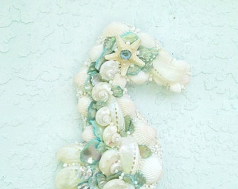 Seahorse Wall Art, Seashells White and Aqua Sea Horse, Shell Coastal Decor Sealife, Seahorse with Shells,Ocean Beach Wall Decor