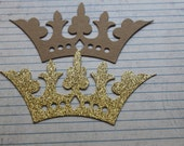 3 Fancy Crown die cuts 5 1/4 inches wide [choose gold glittered or bare chipboard]