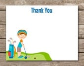Golf Thank You Cards, Golf Birthday Thank You, Miniature Golf Party Thank You, Golf Party Thank You