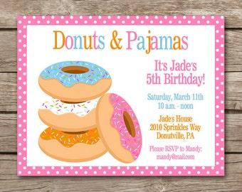 Donuts And Pajamas Invitation, Pajamas And Donuts Invitation, Donut Invitation, Donut Party Invitation, Donut Birthday Invitation, PRINTABLE