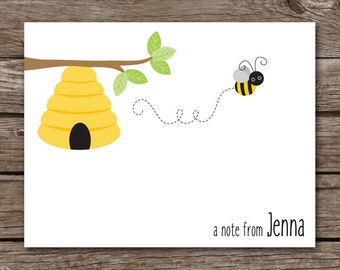 Bee Note Cards, Bee Cards, Bee Stationery, Bee Stationary, Bee Thank You, Bee Birthday, Personalized Note Cards