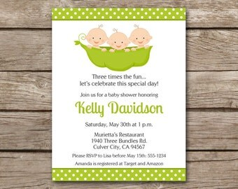 PRINTABLE Triplets Baby Shower Invitation, Triplets Shower Invitation, Triplets Invitation, Peas In A Pod Invitation, Pea Pod Invitation