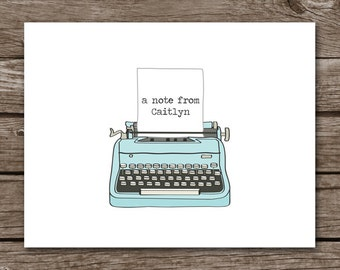 PRINTABLE Typewriter Note Cards, Typewriter Cards, Typewriter Notecards, Typewriter Stationery, Personalized Note Cards,