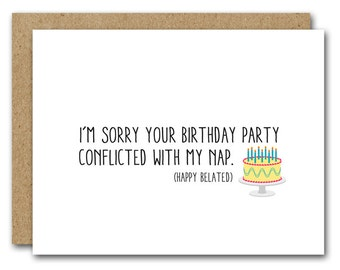 Funny belated card Etsy