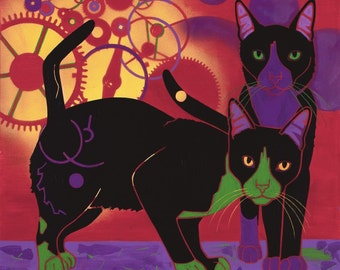 Cat Art - Colorful Cats - Modern Cat Print by Angela Bond