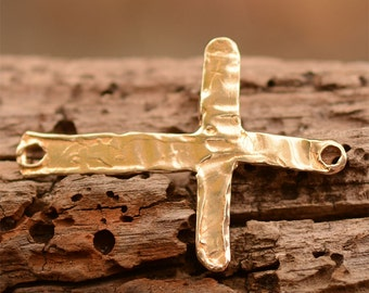 Slender Sideways Cross Link for Bracelet or Terrific Earrings in Gold Bronze