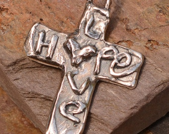 Artisan Cross in Sterling Silver, Hope and Love Cross, AD-438
