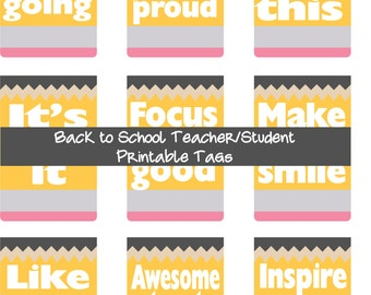 Back to School Pencil Tag - Lunch Box, Desk Note, Teachers