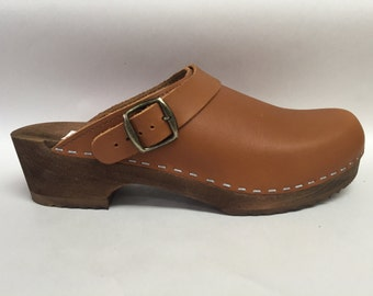 Honey Brown  oiled Low heel clog with ankle strap and bronze buckle