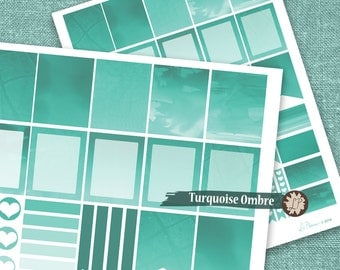 Blue Printable Planner Stickers, Turquoise Ombre Watercolor Planner Stickers, for Erin Condren Life Planner, full box, planning - LIZPLUMMER