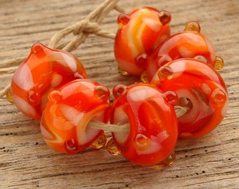 PEACHES - Handmade Lampwork Beads - Earring Pairs - 6 Beads