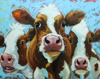 Cows painting animals 514  30x40 inch original portrait oil painting by Roz