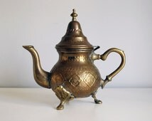Moroccan Teapot, Middle Eastern, Engraved Brass Coffee Pot, Hammered Repousse Metal, Arabic Islamic Home Decor, Boho Decor, Morocco Folk Art