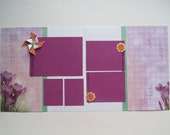 Garden Party Premade or DIY Kit,12x12 Scrapbook Layout,  Scrapbook Page Kit