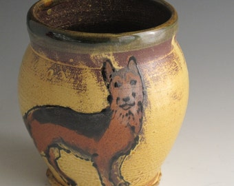 Large mug with slip trailed Dog German Shepherd
