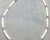 Unisex White & Purple Puka Shell Choker Necklace #207