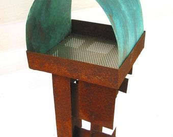 Bird Feeder Modern Build series bird feeder No. 21 in patina steel and copper