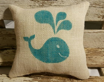"Whale Burlap Stuffed Pillow Beach Blue Nautical Summer Pillow 8"" x 8"" Beach House Pillow"