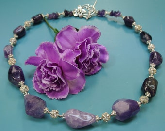 Unique one-of-a-kind graduated purple lilac AMETHYST gemstone necklace with silvercolor metal/ rhinestone bead spacers