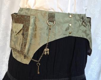 Better than a fanny pack - festival belt - fabric pocket belt - sage green tapestry utility belt - plus size cute fanny pack - Large