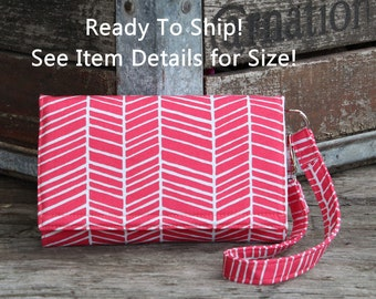 Cell Phone Wallet Wristlet, Ready To Ship, Fits Droid Maxx 2 Turbo 2 Galaxy S7, S7 Edge LgG4 and More SmartPhone Wallet, Pink Herringbone