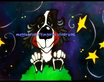bernese mountain dog berner bmd dreams wishes shooting stars puppy love whimsical funny maggie brudos painting Original whimsical DOG art