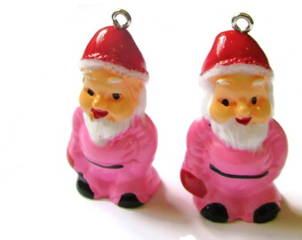 2 Light Pink Garden Gnome Charms 34mm Resin Pendants Miniature Santa Claus Cute Charms Kitsch Charms Jewelry Making Beading Supplies
