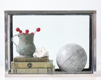 Vintage Glass Aquarium, Chrome Frame