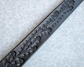 Custom Listing for FL - Narrow Black Tooled Leather Belt w Floral Vine